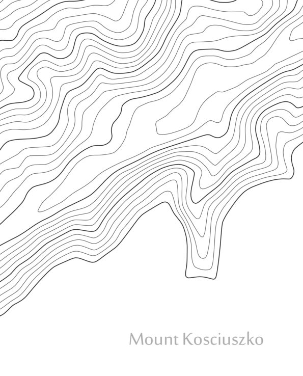 Mount Kosciuszko Contour Closeup Map White Closeup