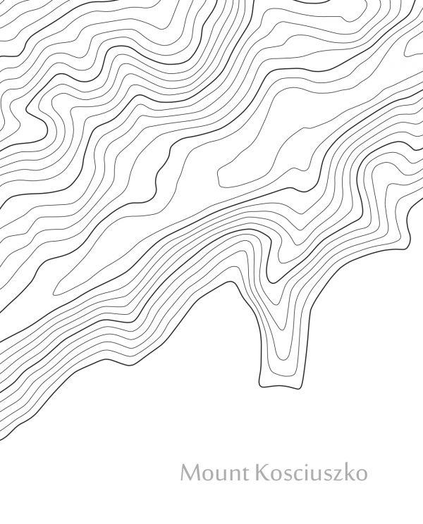 Mount Kosciuszko Contour Closeup Map White Closeup