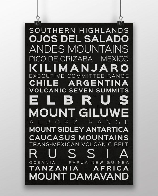 Volcanic Seven Summits Typography Black