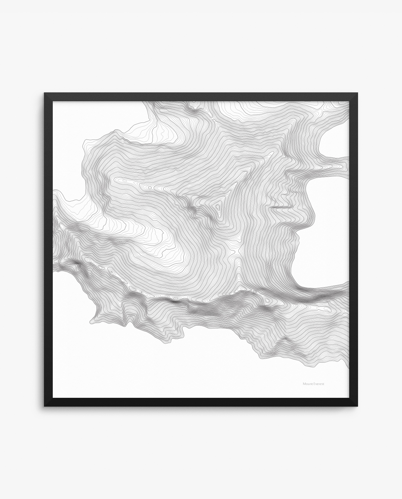 Mount Everest Contours White Framed Poster – Seven Summits Art