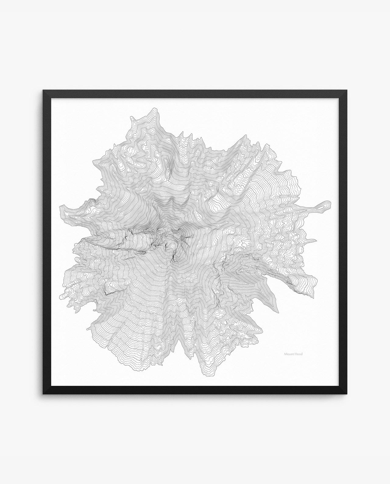 Mount Hood Contours White Framed Poster