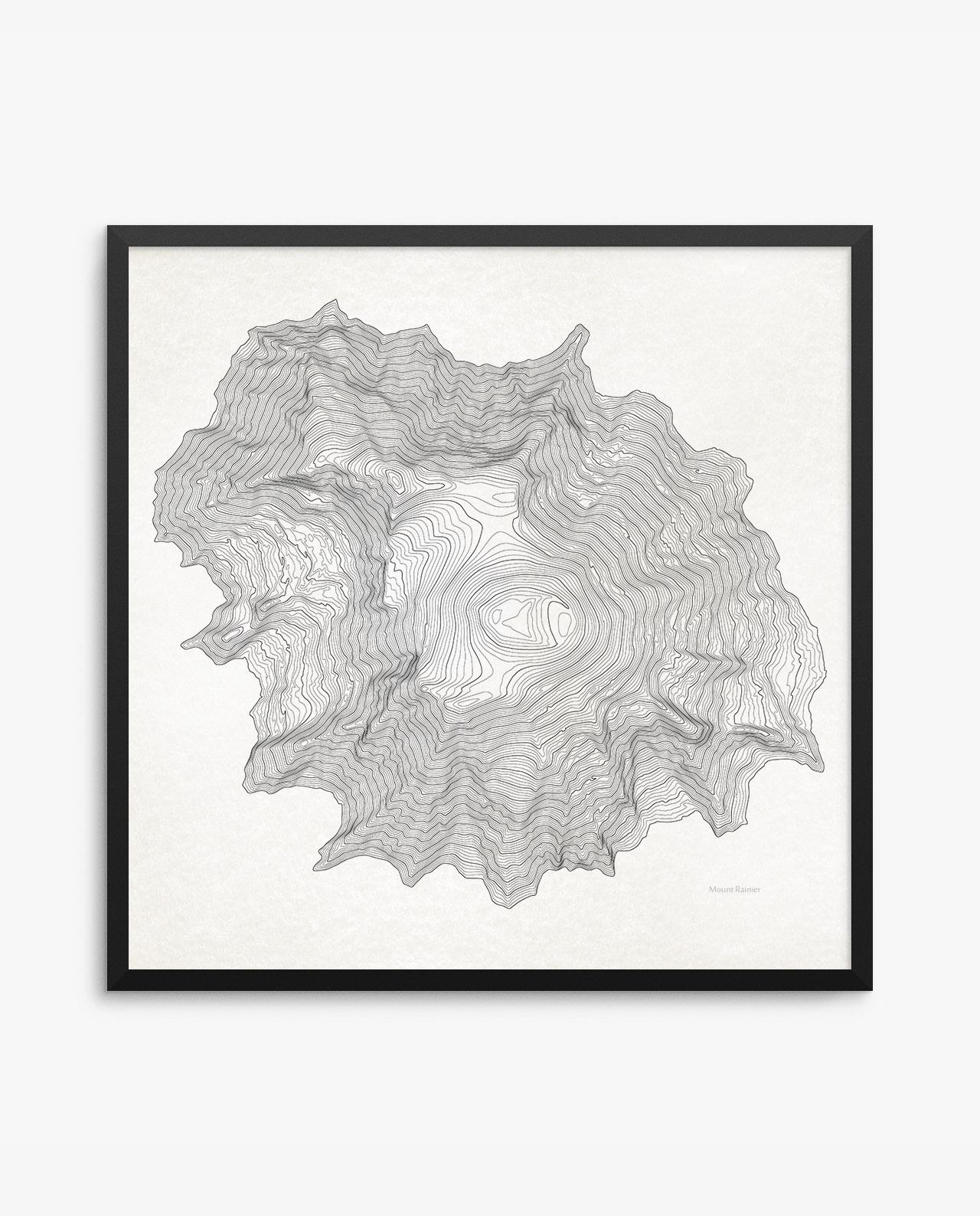 Mount Rainier Contours Vintage Poster