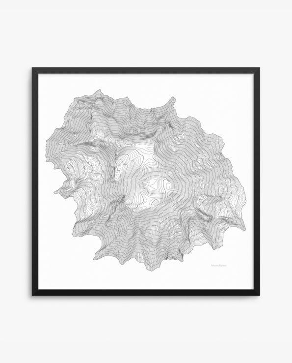 Mount Rainier Contours White Framed Poster