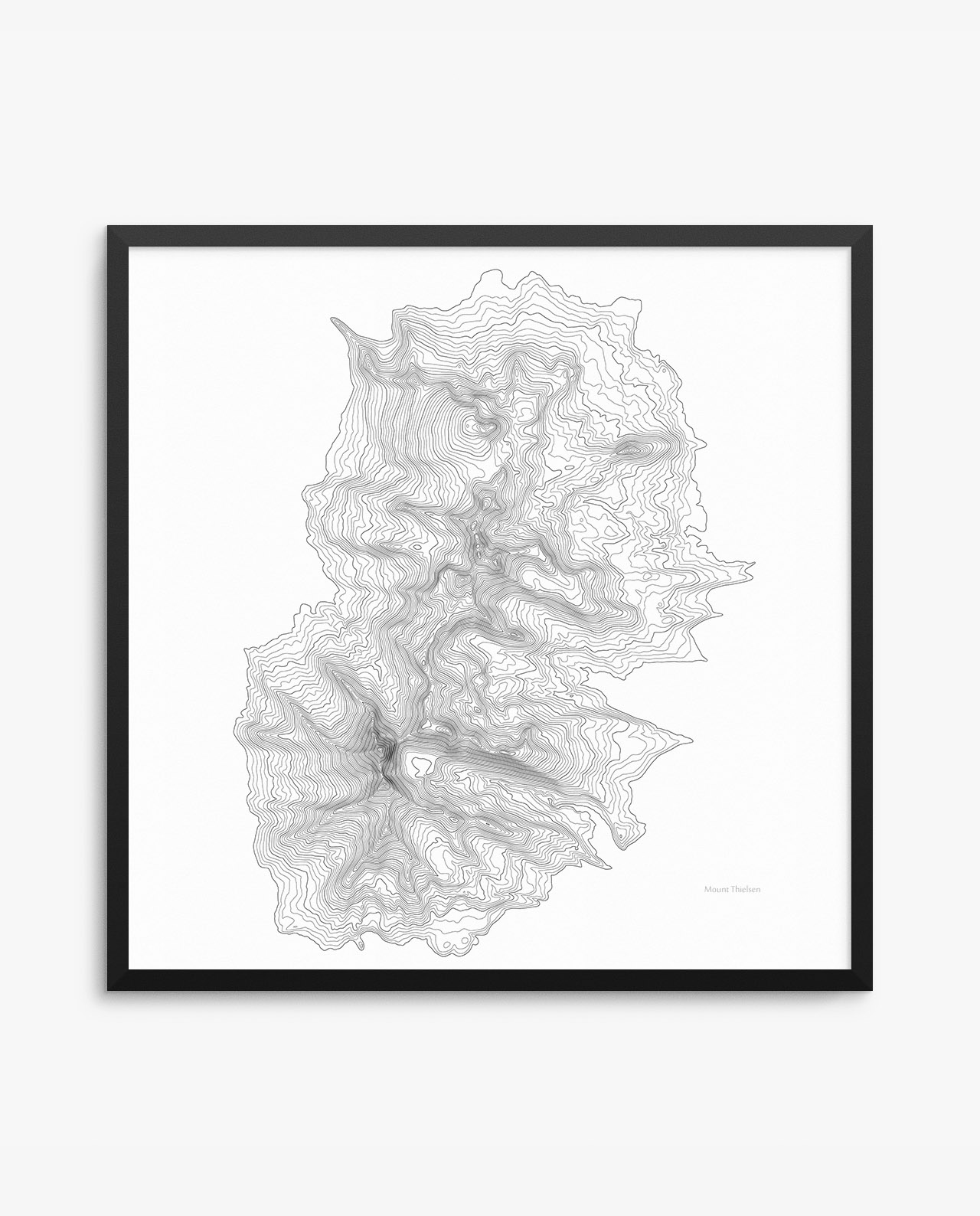 Mount Thielsen topography framed poster