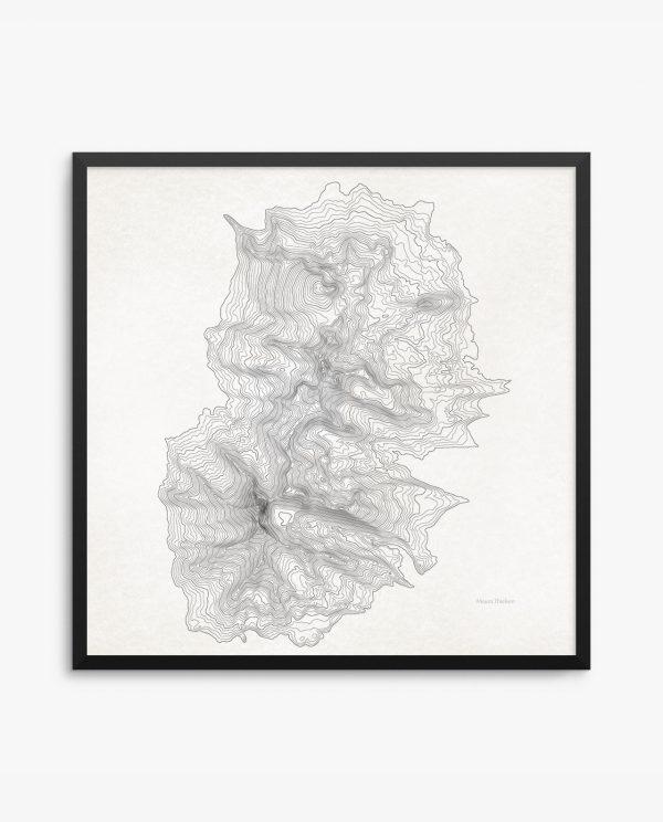 Mount Thielsen vintage topography framed poster