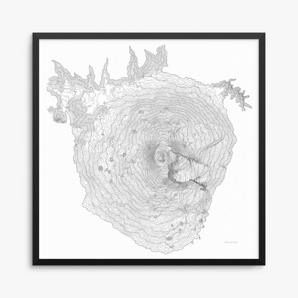 Mount Etna Italy White Poster